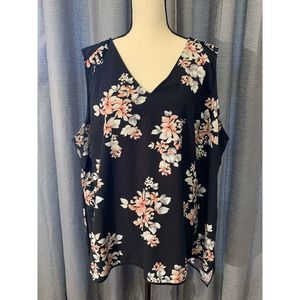 Lane Bryant Black Floral Vneck Tank Top